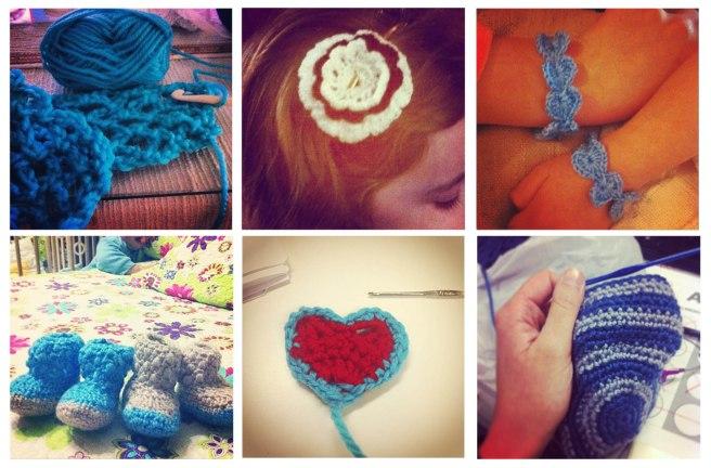 Varios ejemplos de crochet, punto