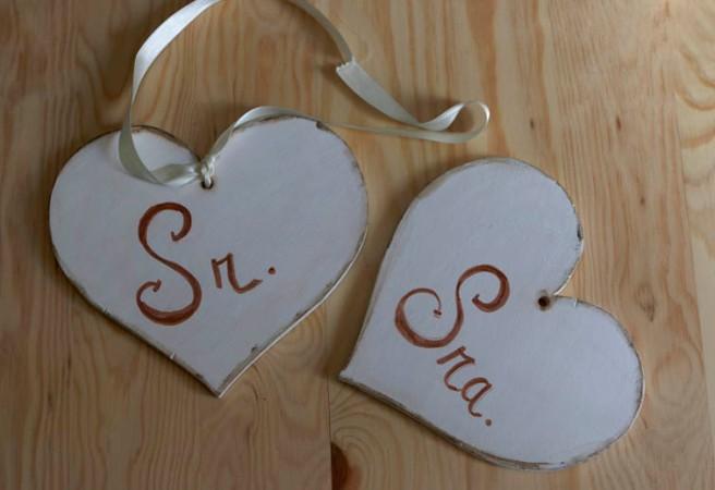 Corazones de madera para boda 2