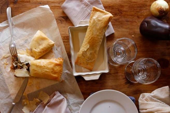 Pasta filo rellena de berenjena 3