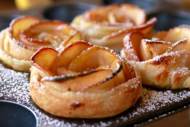 Rosas de hojaldre y manzana 34