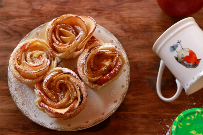 Rosas de hojaldre y manzana 70