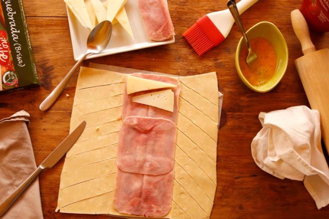 Trenza de jamón cocido y queso 14