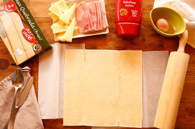 Trenza de jamón cocido y queso 2