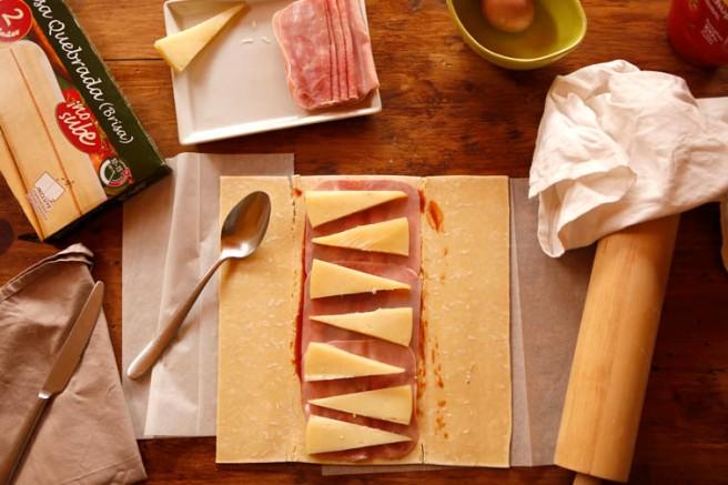 Trenza de jamón cocido y queso 6