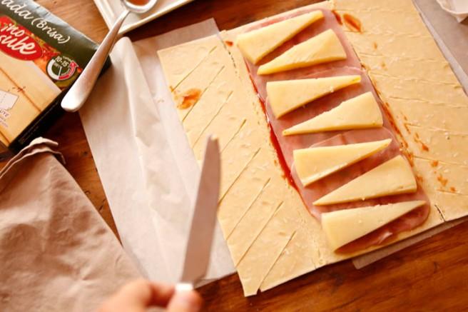 Trenza de jamón cocido y queso 7