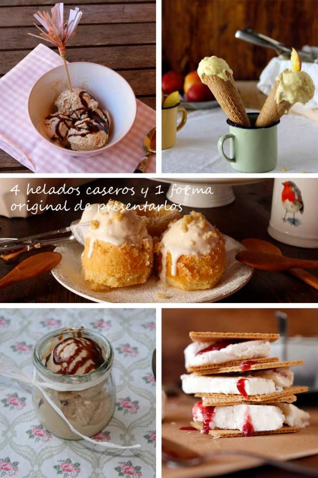 4 helados caseros y 1 forma original de presentarlos